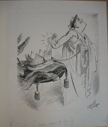 Quincy Scott (American, 1882-1965). <em>Caesar Refuses the Crown</em>, ca. 1940. Pen and India ink on paper, image: 21 7/16 x 18 in. (54.5 x 45.7 cm). Brooklyn Museum, Gift of the artist, 41.853. © artist or artist's estate (Photo: Brooklyn Museum, CUR.41.853.jpg)
