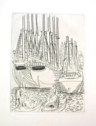 Raoul Dufy (French, 1877-1953). <em>Etching for Chapter XII of La Belle Enfant</em>. Etching, Sheet: 12 5/8 x 9 15/16 in. (32 x 25.2 cm). Brooklyn Museum, Charles Stewart Smith Memorial Fund, 41.858.14. © artist or artist's estate (Photo: Brooklyn Museum, CUR.41.858.14.jpg)