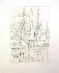Raoul Dufy (French, 1877-1953). <em>Etching for Chapter III of La Belle Enfant</em>. Etching, Sheet: 12 9/16 x 9 3/4 in. (31.9 x 24.8 cm). Brooklyn Museum, Charles Stewart Smith Memorial Fund, 41.858.5. © artist or artist's estate (Photo: Brooklyn Museum, CUR.41.858.5.jpg)