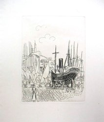 Raoul Dufy (French, 1877-1953). <em>Etching for Chapter VI of La Belle Enfant</em>. Etching, Sheet: 12 5/8 x 5 3/4 in. (32 x 14.6 cm). Brooklyn Museum, Charles Stewart Smith Memorial Fund, 41.858.7. © artist or artist's estate (Photo: Brooklyn Museum, CUR.41.858.7.jpg)