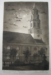 Julius F. Gayler (American, 1872-1948). <em>Saint Michael's Church, Charleston, South Carolina</em>, 1941. Etching and aquatint on wove paper, sheet: 13 1/4 × 9 1/2 in. (33.7 × 24.1 cm). Brooklyn Museum, Gift of the artist, 41.971. © artist or artist's estate (Photo: Brooklyn Museum, CUR.41.971_view1.jpg)