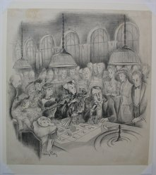 Mary Petty (American, 1899-1976). <em>Croupier</em>, n.d. Graphite and ink on paper, sheet: 14 11/16 x 13 1/2 in. (37.3 x 34.3 cm). Brooklyn Museum, Gift of Harper's Bazaar, 42.241. © artist or artist's estate (Photo: Brooklyn Museum, CUR.42.241.jpg)