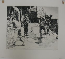 Phillip Kappel (American, 1901-1981). <em>The Holy Stoners- West Indies</em>, 20th century. Drypoint on white laid paper, Sheet: 13 13/16 x 15 3/8 in. (35.1 x 39.1 cm). Brooklyn Museum, Gift of A. Edward Scherr, Jr., 42.277. © artist or artist's estate (Photo: Brooklyn Museum, CUR.42.277.jpg)