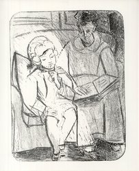 Pablo Picasso (Spanish, 1881-1973). <em>La Lecture</em>, 1926. Lithograph on heavy wove paper, Sheet: 25 15/16 x 20 1/16 in. (65.9 x 51 cm). Brooklyn Museum, Ella C. Woodward Memorial Fund, 42.390. © artist or artist's estate (Photo: Brooklyn Museum, CUR.42.390.jpg)
