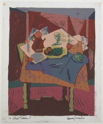 Henry Mark (American, born 1915). <em>The Table</em>, 20th century. Silkscreen on heavy wove paper, Image: 12 1/2 x 10 1/8 in. (31.8 x 25.7 cm). Brooklyn Museum, By exchange, 43.160. © artist or artist's estate (Photo: Brooklyn Museum, CUR.43.160.jpg)