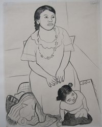 Diego Rivera (Mexican, 1886-1957). <em>Mother and Child</em>, 1926. Ink, brush and charcoal on paper, sheet: 24 1/2 x 18 7/8 in. (62.2 x 47.9 cm). Brooklyn Museum, Carll H. de Silver Fund, 44.125.2. © artist or artist's estate (Photo: Brooklyn Museum, CUR.44.125.2.jpg)