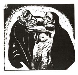 Käthe Kollwitz (German, 1867-1945). <em>The Sacrifice (Das Opfer)</em>, 1922-1923. Woodcut in black ink on beige, moderately thick, smooth, wove paper, image: 14 9/16 × 15 13/16 in. (37 × 40.2 cm). Brooklyn Museum, Carll H. de Silver Fund, 44.201.1. © artist or artist's estate (Photo: Brooklyn Museum, CUR.44.201.1.jpg)