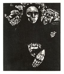 Käthe Kollwitz (German, 1867-1945). <em>The People (Das Volk)</em>, 1922-1923. Woodcut in black ink on beige, moderately thick, smooth, wove paper, Image: 14 3/16 x 11 7/8 in. (36 x 30.2 cm). Brooklyn Museum, Carll H. de Silver Fund, 44.201.7. © artist or artist's estate (Photo: Brooklyn Museum, CUR.44.201.7.jpg)