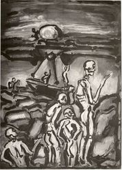 Georges Rouault (French, 1871-1958). <em>Paysage</em>, 1939. Etching, heliogravure and roulette on laid paper, 24 1/8 x 17 15/16 in. (61.2 x 45.5 cm). Brooklyn Museum, Carll H. de Silver Fund, 44.202. © artist or artist's estate (Photo: Brooklyn Museum, CUR.44.202.jpg)
