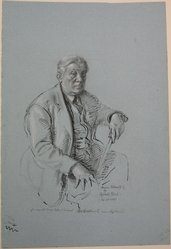 Reginald Marsh (American, 1898-1954). <em>Portrait of Abraham Walkowitz</em>, February 24, 1943. Graphite, ink, and white chalk on blue paper, Sheet: 18 7/16 x 12 7/16 in. (46.8 x 31.6 cm). Brooklyn Museum, Gift of Abraham Walkowitz, 44.71. © artist or artist's estate (Photo: Brooklyn Museum, CUR.44.71.jpg)