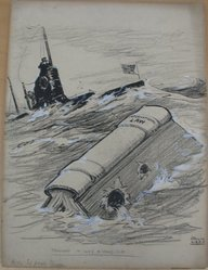 Rollin Kirby (American, 1875-1952). <em>Thought It Was a Warship</em>, early 20th century. Graphite, gouache, charcoal and ink on paperboard, sheet: 20 1/16 x 15 in. (51 x 38.1 cm). Brooklyn Museum, Gift of the artist, 44.8.10. © artist or artist's estate (Photo: Brooklyn Museum, CUR.44.8.10.jpg)