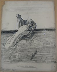 Rollin Kirby (American, 1875-1952). <em>Dragging Him Down</em>, early 20th century. Charcoal and gouache over graphite on paperboard, sheet: 19 13/16 x 14 15/16 in. (50.3 x 37.9 cm). Brooklyn Museum, Gift of the artist, 44.8.13. © artist or artist's estate (Photo: Brooklyn Museum, CUR.44.8.13.jpg)