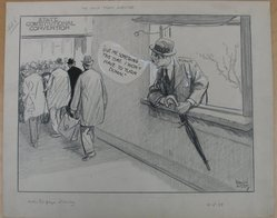 Rollin Kirby (American, 1875-1952). <em>The Voice from Outside</em>, 1938. Charcoal, ink and gouache on paper, sheet: 14 1/2 x 17 15/16 in. (36.8 x 45.6 cm). Brooklyn Museum, Gift of the artist, 44.8.3. © artist or artist's estate (Photo: Brooklyn Museum, CUR.44.8.3.jpg)