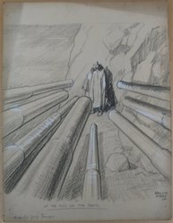 Rollin Kirby (American, 1875-1952). <em>At the End of the Road</em>, early 20th century. Charcoal and gouache over graphite on paperboard, sheet: 19 7/8 x 14 15/16 in. (50.5 x 37.9 cm). Brooklyn Museum, Gift of the artist, 44.8.7. © artist or artist's estate (Photo: Brooklyn Museum, CUR.44.8.7.jpg)