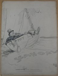 Rollin Kirby (American, 1875-1952). <em>That Oily Ground Swell</em>, early 20th century. Graphite, charcoal and gouache on paperboard, sheet: 19 15/16 x 14 15/16 in. (50.6 x 37.9 cm). Brooklyn Museum, Gift of the artist, 44.8.8. © artist or artist's estate (Photo: Brooklyn Museum, CUR.44.8.8.jpg)
