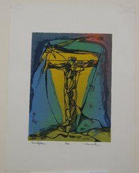 Henry Mark (American, born 1915). <em>Crucifixion</em>, 1944. Serigraph on white wove paper, Image: 8 1/16 x 6 in. (20.5 x 15.2 cm). Brooklyn Museum, Dick S. Ramsay Fund, 45.12.2. © artist or artist's estate (Photo: Brooklyn Museum, CUR.45.12.2.jpg)