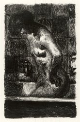 Pierre Bonnard (French, 1867-1947). <em>Woman Standing in Her Bath (Femme debout dans sa baignoire)</em>, 1925. Lithograph on wove paper, Image: 11 13/16 x 7 13/16 in. (30 x 19.8 cm). Brooklyn Museum, Henry L. Batterman Fund, 46.185. © artist or artist's estate (Photo: Brooklyn Museum, CUR.46.185.jpg)
