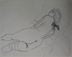 Augustus Peck (American, 1906-1975). <em>Reclining Nude</em>, n.d. Pen and ink and graphite on notebook paper with punched holes, Sheet: 8 1/2 x 11 in. (21.6 x 27.9 cm). Brooklyn Museum, Gift of the artist, 46.206.1. © artist or artist's estate (Photo: Brooklyn Museum, CUR.46.206.1_overall.jpg)
