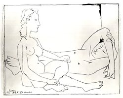 Pablo Picasso (Spanish, 1881-1973). <em>Couple</em>, 1947. Lithograph on Arches wove paper, 19 1/2 x 25 1/4 in. (49.5 x 64.2 cm). Brooklyn Museum, Frank L. Babbott Fund, 47.187.4. © artist or artist's estate (Photo: Brooklyn Museum, CUR.47.187.4.jpg)