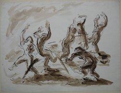 John Groth (American, 1908-1988). <em>World War II Illustration II</em>, before 1947. Ink and wash on paper, Sheet: 17 7/16 x 23 in. (44.3 x 58.4 cm). Brooklyn Museum, Gift of the artist, 47.238.2. © artist or artist's estate (Photo: Brooklyn Museum, CUR.47.238.2.jpg)