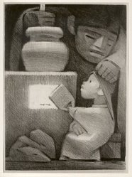 Jean Charlot (French, active United States and Mexico, 1898-1979). <em>Mexican Kitchen</em>. Lithograph, 13 9/16 x 9 3/4 in. (34.4 x 24.8 cm). Brooklyn Museum, Dick S. Ramsay Fund, 47.59. © artist or artist's estate (Photo: Brooklyn Museum, CUR.47.59.jpg)