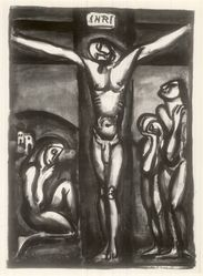 Georges Rouault (French, 1871-1958). <em>Christ en Croix avec Disciples</em>, 1923. Etching on wove paper, 25 1/16 x 19 9/16 in. (63.6 x 49.7 cm). Brooklyn Museum, A. Augustus Healy Fund, 48.102.1. © artist or artist's estate (Photo: Brooklyn Museum, CUR.48.102.1.jpg)