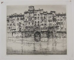 Ernest David Roth (American, 1879-1964). <em>Florentine Palaces</em>, 1927. Etching on laid paper, image: 10 x 11 7/8 in. (25.4 x 30.2 cm). Brooklyn Museum, Gift of William Lybrand, 48.193.78. © artist or artist's estate (Photo: Brooklyn Museum, CUR.48.193.78.jpg)