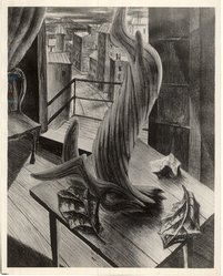 Frances Senska (American, born Cameroon, 1914-2009). <em>Nostalgia</em>, 1947. Lithograph on wove paper, Image: 14 13/16 x 11 15/16 in. (37.7 x 30.3 cm). Brooklyn Museum, Dick S. Ramsay Fund, 48.50. © artist or artist's estate (Photo: Brooklyn Museum, CUR.48.50.jpg)
