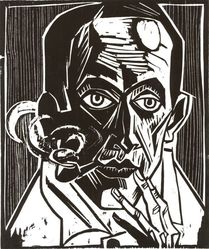 Max Pechstein (German, 1881-1955). <em>Self-Portrait with Pipe (Selbstbildnis mit Pfeife)</em>, 1921. Woodcut on Japan paper, Image: 13 7/16 x 11 1/8 in. (34.1 x 28.3 cm). Brooklyn Museum, Caroline A.L. Pratt Fund, 49.102.4. © artist or artist's estate (Photo: Brooklyn Museum, CUR.49.102.4.jpg)