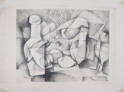 Wallace Hochman (American, 1926-2007). <em>Still Life</em>, 1948. Lithograph on wove paper, Sheet: 14 3/16 x 19 in. (36 x 48.3 cm). Brooklyn Museum, 49.75. © artist or artist's estate (Photo: Brooklyn Museum, CUR.49.75.jpg)