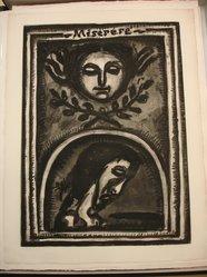 Georges Rouault (French, 1871-1958). <em>Miserere mei Deus Secundum Magnam Misericordiam Tuam</em>, 1925. Etching, aquatint, and heliogravure on laid Arches paper, 22 7/16 x 16 9/16 in. (57 x 42 cm). Brooklyn Museum, Frank L. Babbott Fund, 50.15.1. © artist or artist's estate (Photo: Brooklyn Museum, CUR.50.15.1.jpg)