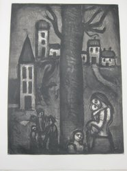 Georges Rouault (French, 1871-1958). <em>Au Vieux Faubourg des Longues Peines.</em>, 1922. Etching, aquatint, and heliogravure on laid Arches paper, 22 5/16 x 16 9/16 in. (56.6 x 42 cm). Brooklyn Museum, Frank L. Babbott Fund, 50.15.10. © artist or artist's estate (Photo: Brooklyn Museum, CUR.50.15.10_view2.jpg)