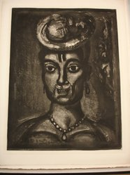 Georges Rouault (French, 1871-1958). <em>Femme Affranchie, à Quatorze Heures Chante Midi.</em>, 1933. Etching, aquatint, and heliogravure on laid Arches paper, 21 15/16 x 16 15/16 in. (55.8 x 43 cm). Brooklyn Museum, Frank L. Babbott Fund, 50.15.17. © artist or artist's estate (Photo: Brooklyn Museum, CUR.50.15.17.jpg)
