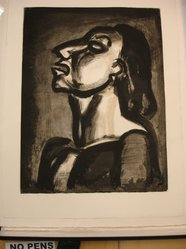 Georges Rouault (French, 1871-1958). <em>Son Avocat, en Phrases Creuses, Clame sa Totale Inconscience...</em>, 1922. Etching, aquatint, and heliogravure on laid Arches paper, 21 x 16 in. (53.4 x 40.7 cm). Brooklyn Museum, Frank L. Babbott Fund, 50.15.19. © artist or artist's estate (Photo: Brooklyn Museum, CUR.50.15.19.jpg)