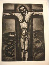 Georges Rouault (French, 1871-1958). <em>Sous un Jésus en Croix Oublié Là.</em>, 1926. Etching, aquatint, and heliogravure on laid Arches paper, 22 3/4 x 16 5/16 in. (57.8 x 41.5 cm). Brooklyn Museum, Frank L. Babbott Fund, 50.15.20. © artist or artist's estate (Photo: Brooklyn Museum, CUR.50.15.20.jpg)