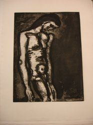 Georges Rouault (French, 1871-1958). <em>Toujours Flagellé...</em>, 1922. Etching, aquatint, and heliogravure on laid Arches paper, 19 1/8 x 14 7/16 in. (48.5 x 36.6 cm). Brooklyn Museum, Frank L. Babbott Fund, 50.15.3. © artist or artist's estate (Photo: Brooklyn Museum, CUR.50.15.3.jpg)