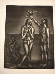 "Georges Rouault (French, 1871-1958). <em>""Nous... C'est en Sa Mort Que Nous Avons été Baptistés..""</em> . Etching, aquatint, and heliogravure on laid Arches paper, 21 5/8 x 16 5/8 in. (55 x 42.2 cm). Brooklyn Museum, Frank L. Babbott Fund, 50.15.30. © artist or artist's estate (Photo: Brooklyn Museum, CUR.50.15.30.jpg)"