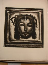 Georges Rouault (French, 1871-1958). <em>Et Véronique su Tendre lin Pass Encore sur le Chemin...</em>, 1921. Etching, aquatint, and heliogravure on laid Arches paper, 17 1/4 x 16 7/8 in. (43.8 x 42.8 cm). Brooklyn Museum, Frank L. Babbott Fund, 50.15.33. © artist or artist's estate (Photo: Brooklyn Museum, CUR.50.15.33.jpg)