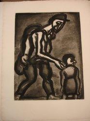 Georges Rouault (French, 1871-1958). <em>Se Réfugie en ton Coeur, Va-Nu-Pieds de Malheur.</em>, 1922. Etching, aquatint, and heliogravure on laid Arches paper, 19 x 14 5/8 in. (48.3 x 37.2 cm). Brooklyn Museum, Frank L. Babbott Fund, 50.15.4. © artist or artist's estate (Photo: Brooklyn Museum, CUR.50.15.4.jpg)