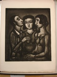 Georges Rouault (French, 1871-1958). <em>Augures...</em>. Etching, aquatint, and heliogravure on laid Arches paper, 20 1/16 x 17 5/16 in. (51 x 44 cm). Brooklyn Museum, Frank L. Babbott Fund, 50.15.41. © artist or artist's estate (Photo: Brooklyn Museum, CUR.50.15.41.jpg)