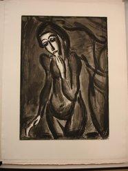 """Georges Rouault (French, 1871-1958). <em>""""Nous Devons Mourir, Nous et Tout ce Qui est Nôtre.,""""</em> 1922. Etching, aquatint, and heliogravure on laid Arches paper, 20 3/8 x 14 5/16 in. (51.8 x 36.4 cm). Brooklyn Museum, Frank L. Babbott Fund, 50.15.43. © artist or artist's estate (Photo: Brooklyn Museum, CUR.50.15.43.jpg)"""