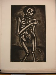 Georges Rouault (French, 1871-1958). <em>La Mort l'a Pris Comme it Sortait du Lit d'Orties.</em>, 1922. Etching, aquatint, and heliogravure on laid Arches paper, 21 5/16 x 13 1/8 in. (54.1 x 33.4 cm). Brooklyn Museum, Frank L. Babbott Fund, 50.15.45. © artist or artist's estate (Photo: Brooklyn Museum, CUR.50.15.45.jpg)