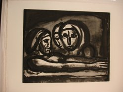 Georges Rouault (French, 1871-1958). <em>Au Pressoir, le Raisin Fut Foulé.</em>, 1922. Etching, aquatint, and heliogravure on laid Arches paper, 15 5/8 x 19 3/16 in. (39.7 x 48.7 cm). Brooklyn Museum, Frank L. Babbott Fund, 50.15.48. © artist or artist's estate (Photo: Brooklyn Museum, CUR.50.15.48.jpg)