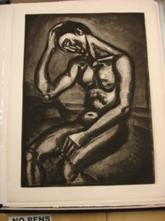 Georges Rouault (French, 1871-1958). <em>Solitaire en Cette Vie d-Embûches et de Malices</em>, 1929. Etching, aquatint, and heliogravure on laid Arches paper, 22 11/16 x 16 5/16 in. (57.6 x 41.5 cm). Brooklyn Museum, Frank L. Babbott Fund, 50.15.5. © artist or artist's estate (Photo: Brooklyn Museum, CUR.50.15.5.jpg)