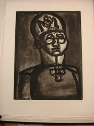 Georges Rouault (French, 1871-1958). <em>Loin du Sourire de Reims.</em>, 1922. Etching, aquatint, and heliogravure on laid Arches paper, 20 3/16 x 15 1/8 in. (51.2 x 38.4 cm). Brooklyn Museum, Frank L. Babbott Fund, 50.15.51. © artist or artist's estate (Photo: Brooklyn Museum, CUR.50.15.51.jpg)