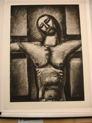 Georges Rouault (French, 1871-1958). <em>Obéissant Jusqu'à la Mort et  à la Mort de la Croix</em>, 1926 or 1936. Etching, aquatint, and heliogravure on laid Arches paper, 22 13/16 x 16 5/8 in. (58 x 42.3 cm). Brooklyn Museum, Frank L. Babbott Fund, 50.15.57. © artist or artist's estate (Photo: Brooklyn Museum, CUR.50.15.57.jpg)