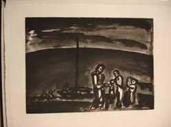 Georges Rouault (French, 1871-1958). <em>Il Arrive Parfois que la Route Soit Belle...</em>, 1922. Etching, aquatint, and heliogravure on laid Arches paper, 14 5/8 x 19 7/8 in. (37.2 x 50.5 cm). Brooklyn Museum, Frank L. Babbott Fund, 50.15.9. © artist or artist's estate (Photo: Brooklyn Museum, CUR.50.15.9.jpg)