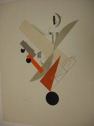 El Lissitzky (Russian, 1890-1941). <em>Globetrotter (In Time)</em>, 1923. Lithograph on wove paper, 14 3/16 x 10 1/16 in. (36 x 25.5 cm). Brooklyn Museum, By exchange, 50.191.5. © artist or artist's estate (Photo: Brooklyn Museum, CUR.50.191.5.jpg)