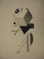 El Lissitzky (Russian, 1890-1941). <em>Old Man - Head 2 Paces Back  (Alter - Kopf 2 Schritt Hinter)</em>, 1923. Lithograph on heavy wove paper, 15 3/8 x 7 7/8 in. (39 x 20 cm). Brooklyn Museum, By exchange, 50.191.8. © artist or artist's estate (Photo: Brooklyn Museum, CUR.50.191.8.jpg)