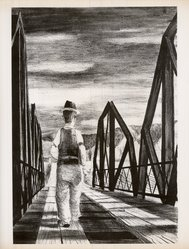 Elmer Schooley (American, 1916-2007). <em>Gallinas Bridge</em>, 1950. Lithograph on paper, 15 7/8 x 10 7/8 in. (40.3 x 27.6 cm). Brooklyn Museum, Dick S. Ramsay Fund, 51.48. © artist or artist's estate (Photo: Brooklyn Museum, CUR.51.48.jpg)